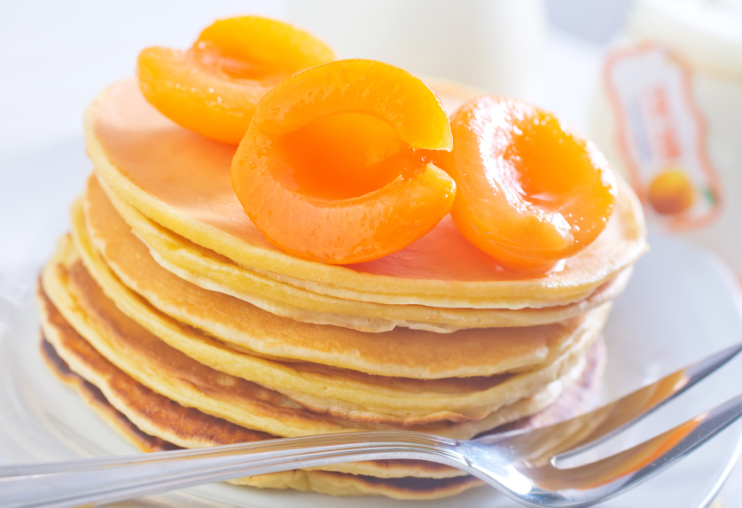 Sweet peach pancakes