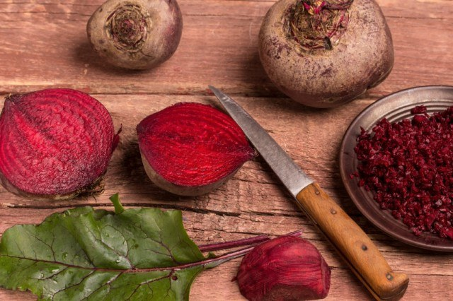 beets on table with knife