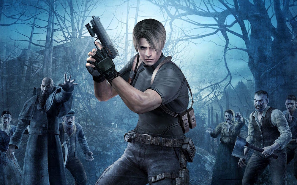 Leon from Resident Evil 4 holding a handgun, surrounded by zombies.