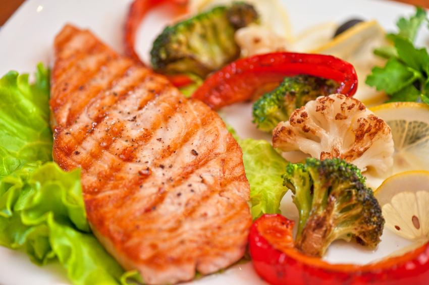 salmon, roasted broccoli and cauliflower