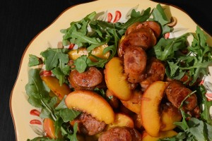A Perfect 20-Minute Snack: Bourbon-Glazed Sausages and Peaches
