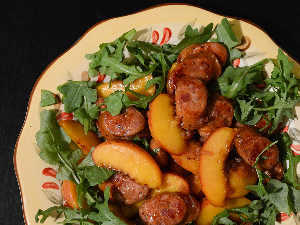 bourbon-glazed sausages and peaches