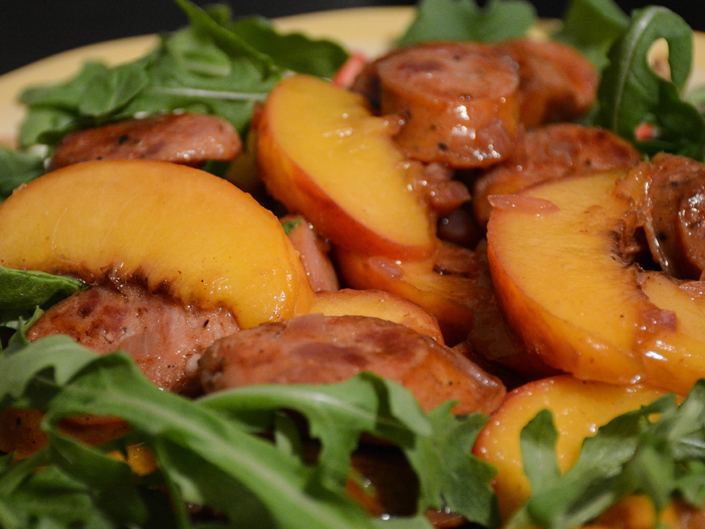 bourbon-glazed sausages and peaches 2