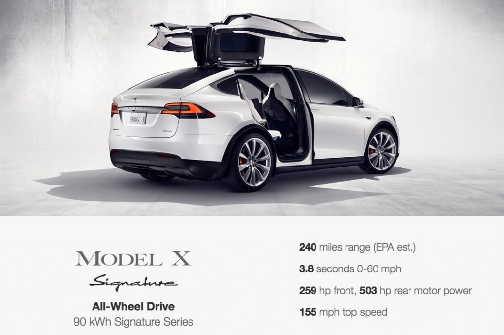 Tesla Model X signature series specs