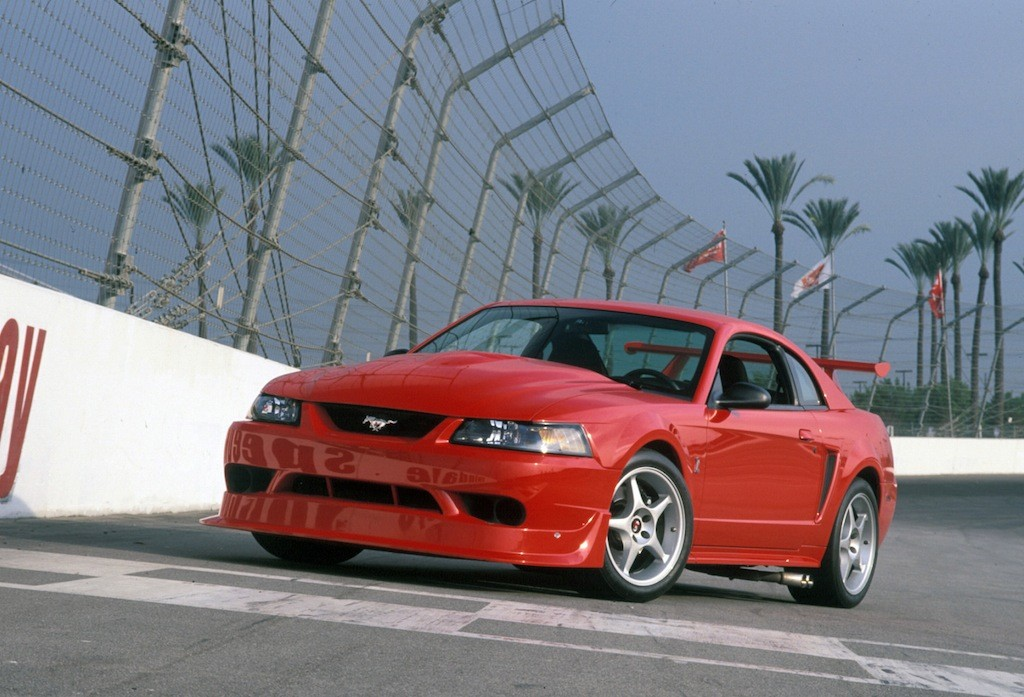 Front three-qyarter view of red 2000 SVT Mustang Cobra R