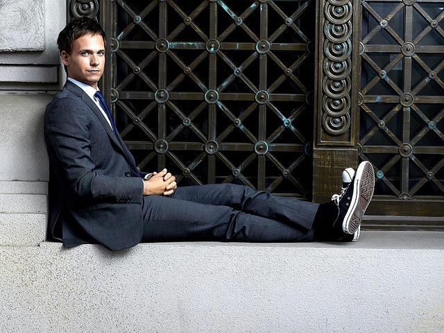 mike ross, suits, patrick adams, suit, sneakers
