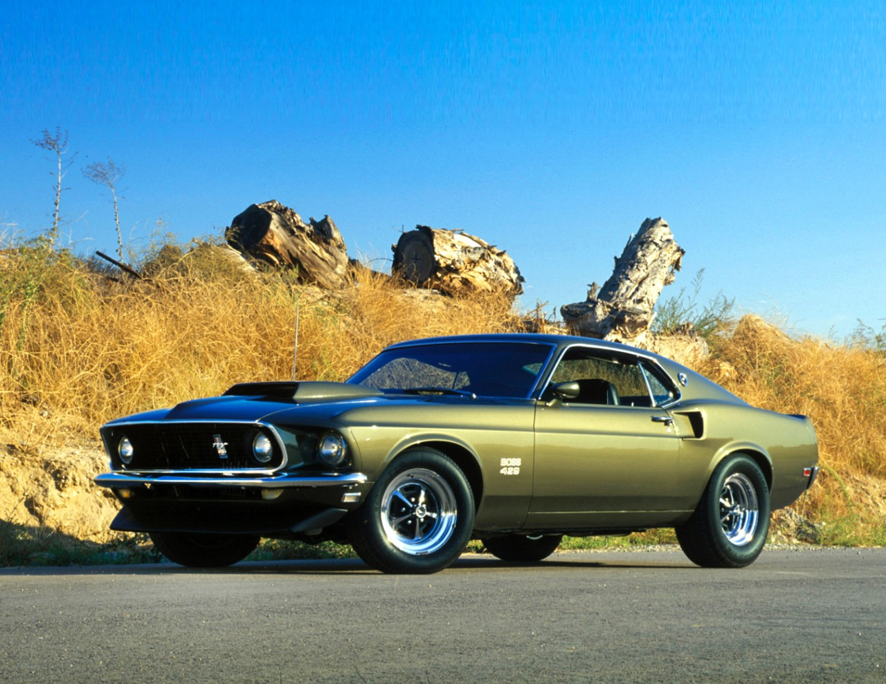 An olive green Ford Mustang Boss 429