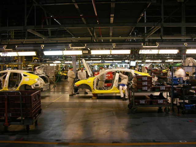 The Honda assembly line in Indiana produces cars, such as the 10th generation Civic