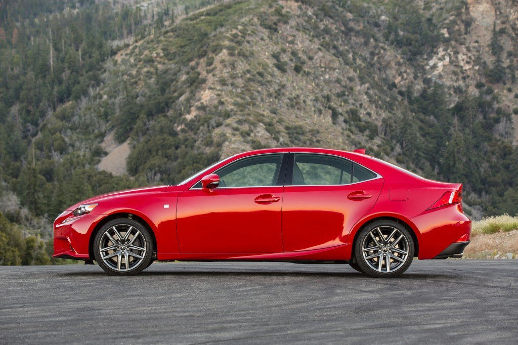Profile shot of red Lexus IS 200t in red