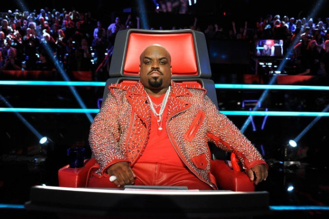 Cee Lo Green staring into the camera on The Voice.