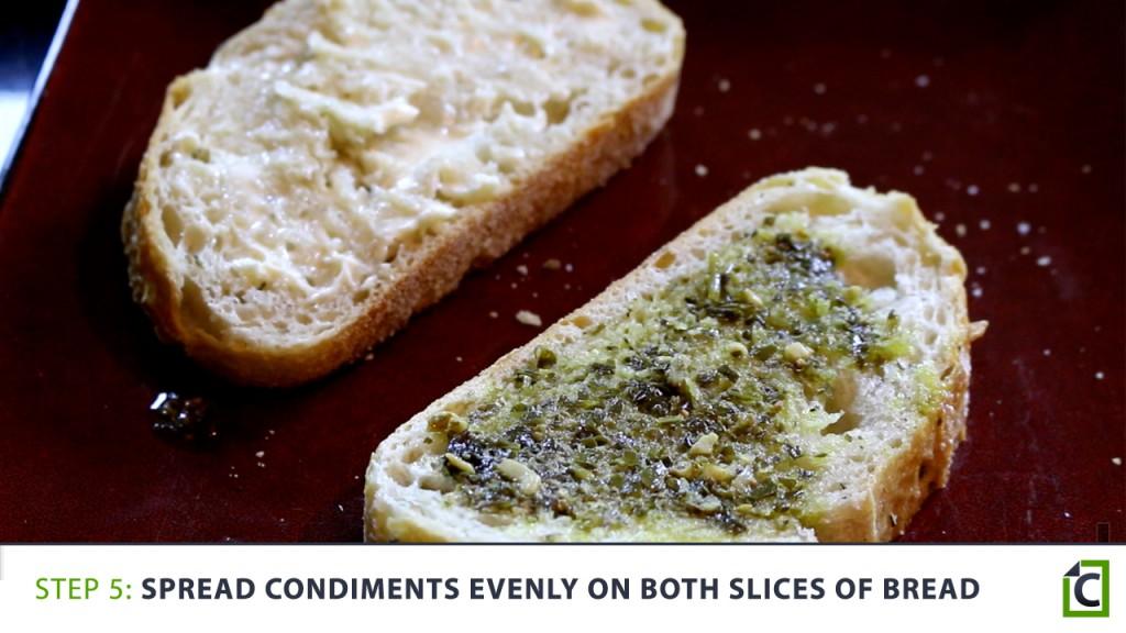 5 spread condiments evenly
