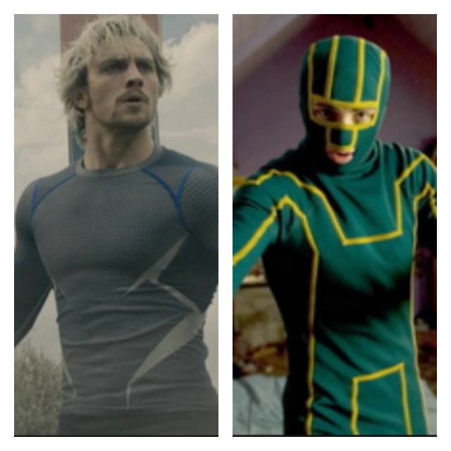 This is a side by side of Aaron Tyler-Johnson as Quicksilver and his character in Kickass in a green costume.