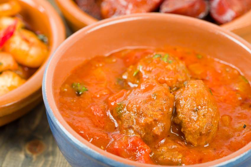 Meatballs in a red pepper sauce