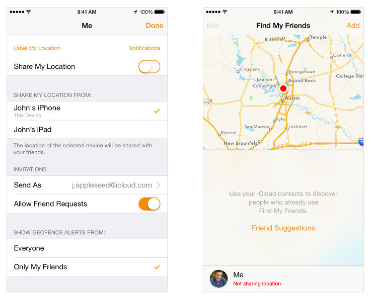 Apple Find My Friends app