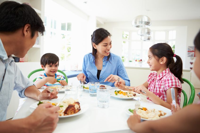 family eating at home around table