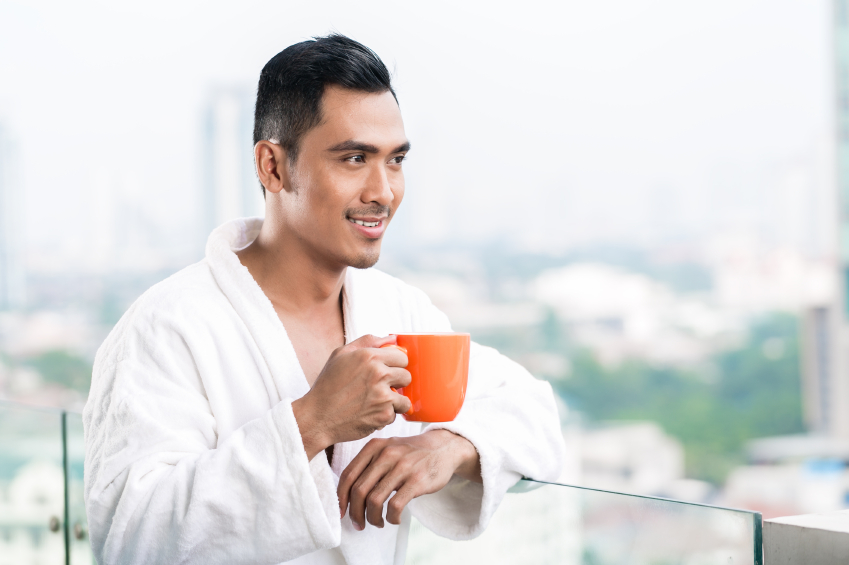 A man drinking coffee in the morning