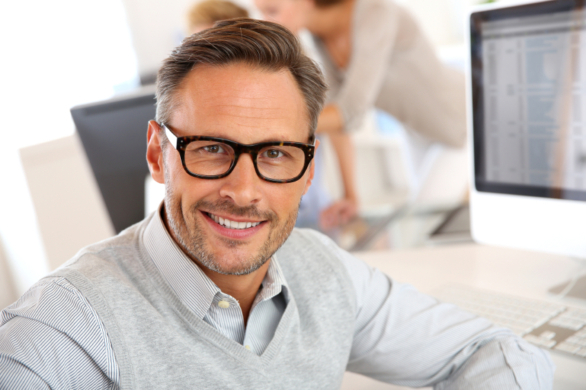 A man in stylish glasses