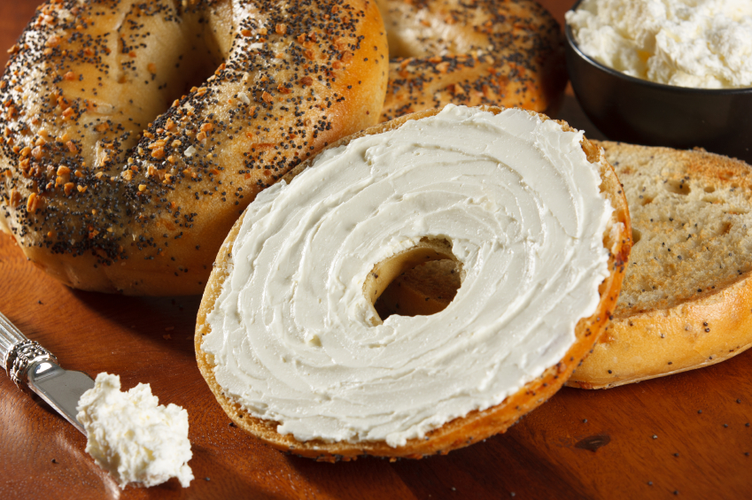 Source: bagel with cream cheese
