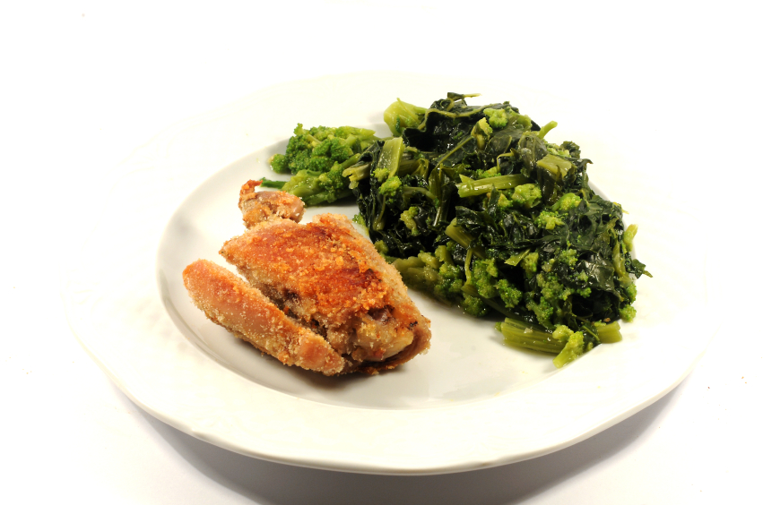 oven fried chicken, collard greens