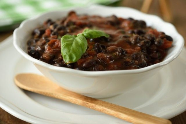 bowl of tomato and black bean soup
