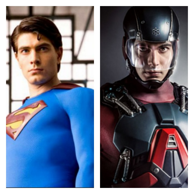 This is a side by side picture Brandon Routh as Superman and Atom.