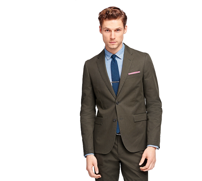 Brooks Brothers olive green twill suit jacket
