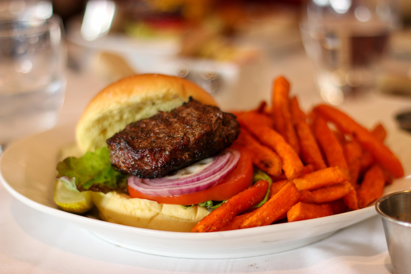 burger, sweet potato fries