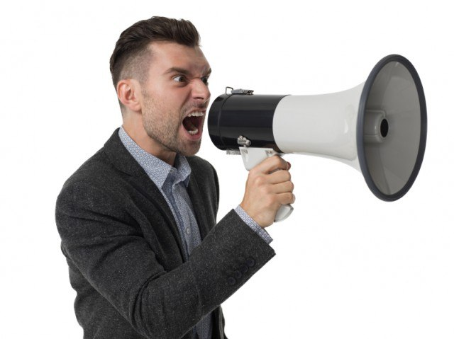 Man yelling at his colleagues