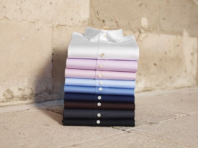 Stacked button up shirts
