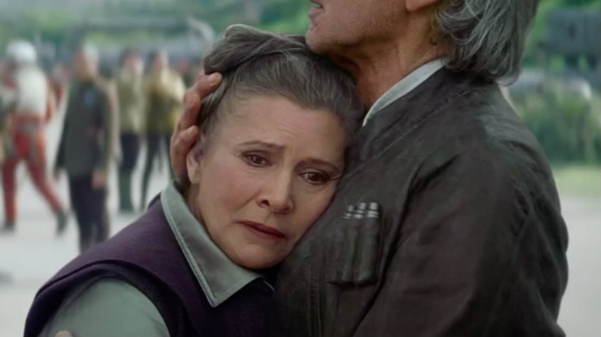 Leia and Han share a tender moment in Star Wars: The Force Awakens