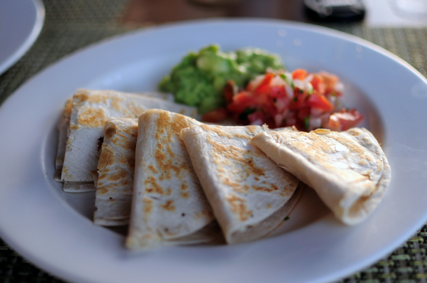 quesadilla on plate with salsa