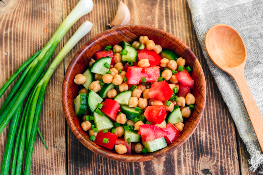 chickpea, tomato, and cucumber salad