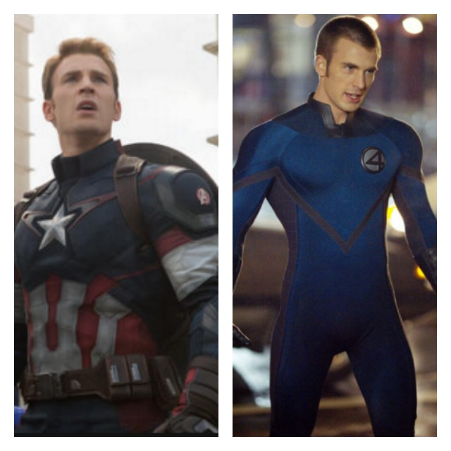 This is a side by side Chris Evans as Captain America and Human Torch.
