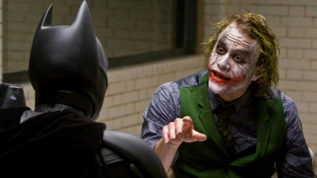 Christian Bale and Heath Ledger in The Dark Knight