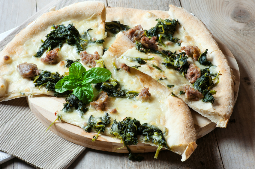 sausage and spinach pizza