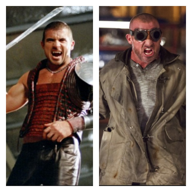 This is a side by side of Dominic Purcell as Dracula and Heat Wave.