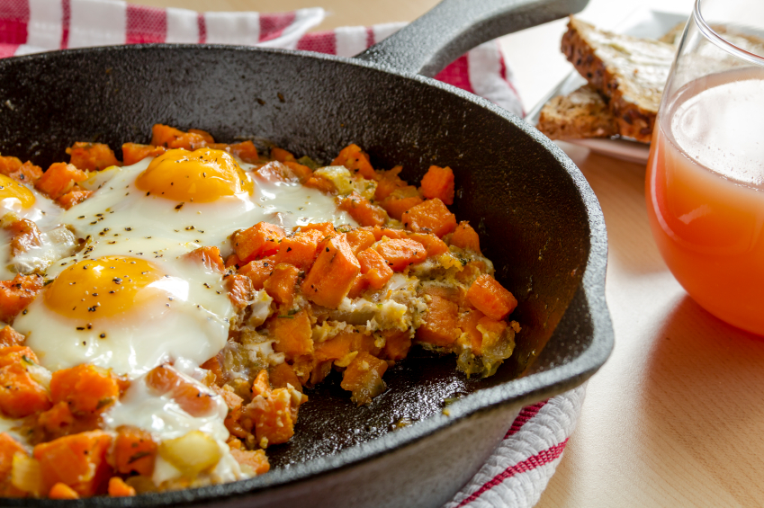 sweet potato hash, eggs