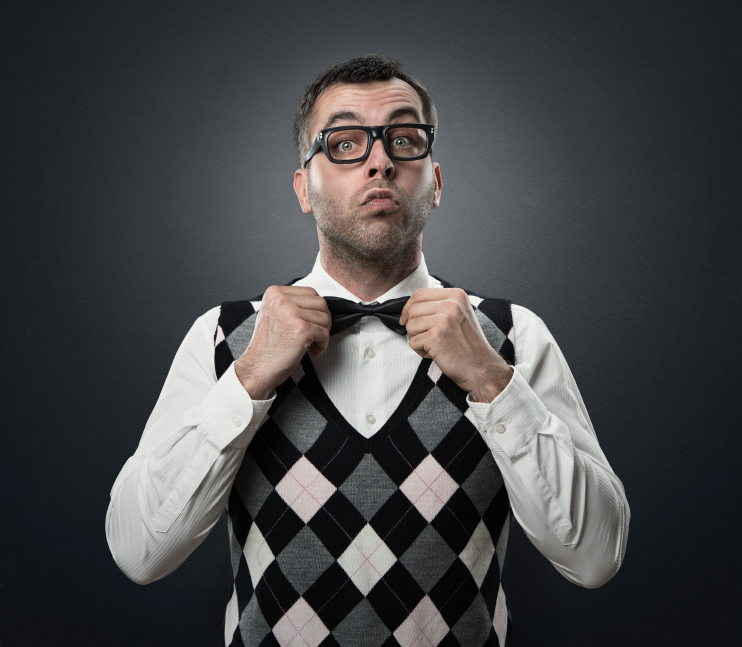 man swearing sweater vest