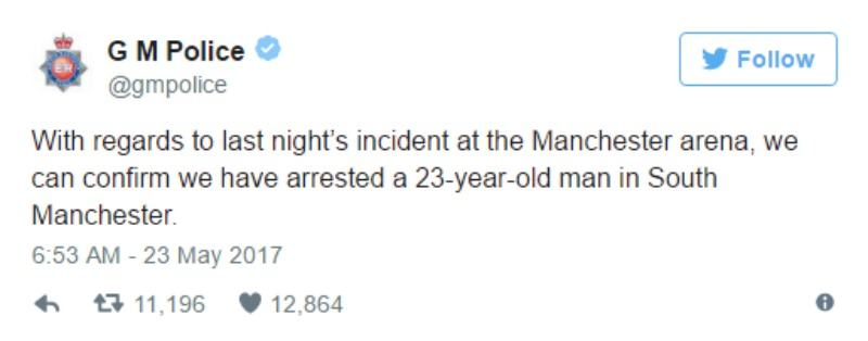 This is a screen shot of the Greater Manchester Police's tweet that they have arrested someone.