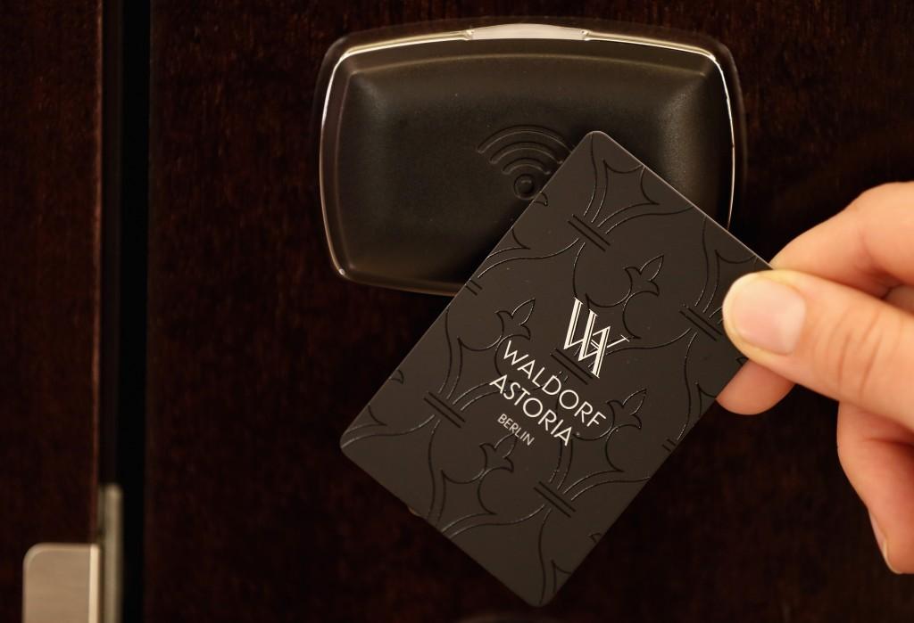 hotel key card at Waldorf Astoria