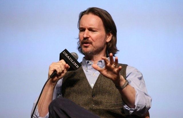 Director Matt Reeves talks into a microphone