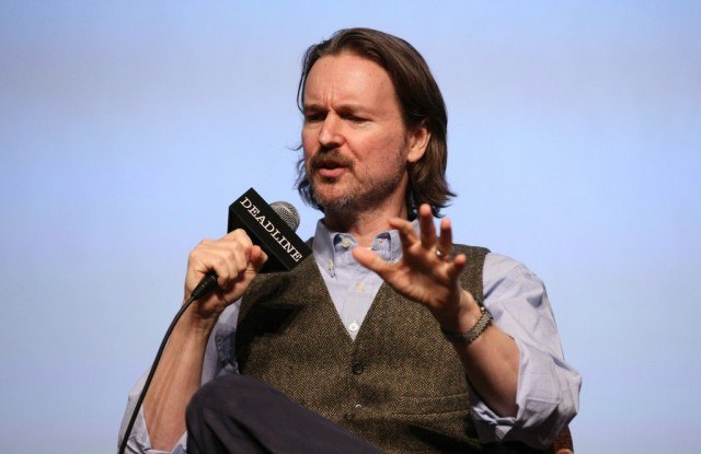 Director Matt Reeves talks into a microphone