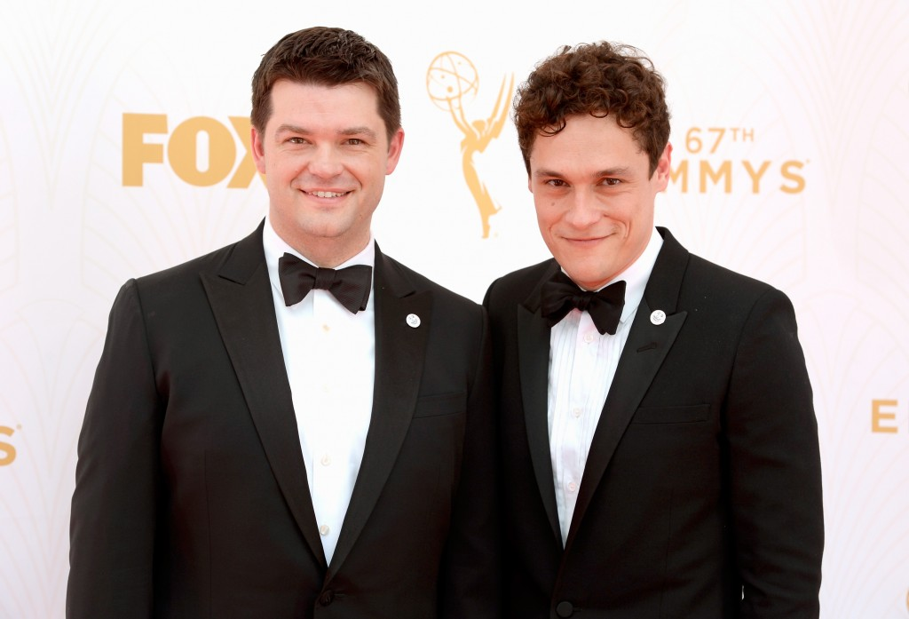 Phil Lord and Christopher Miller in tuxedos