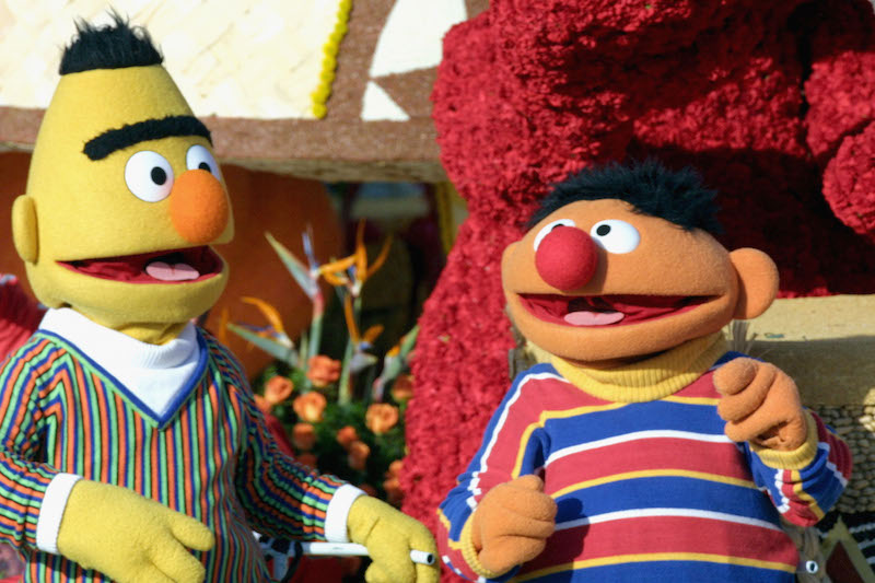 Bert and Ernie on 'Sesame Street' laughing and talking together.