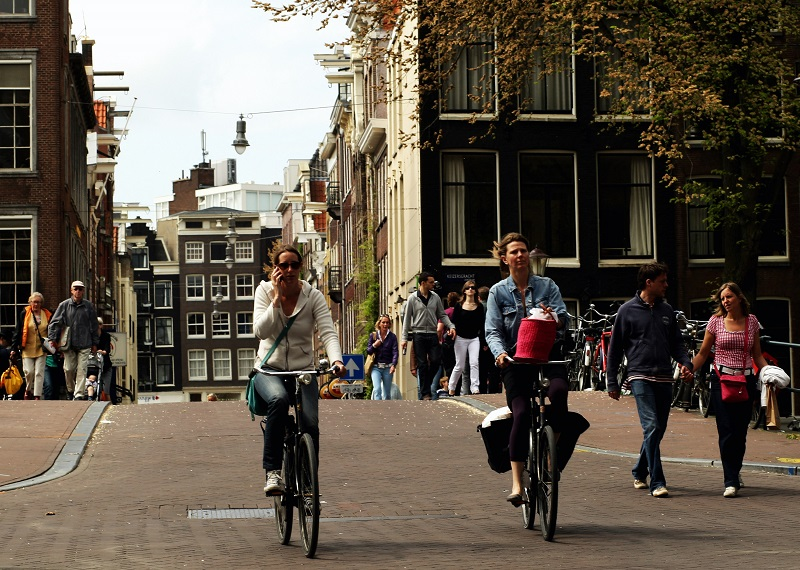 Commuters cycling in Amsterdam