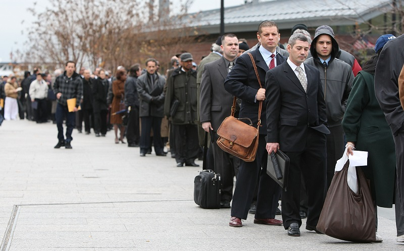 Job applicants line up for interviews