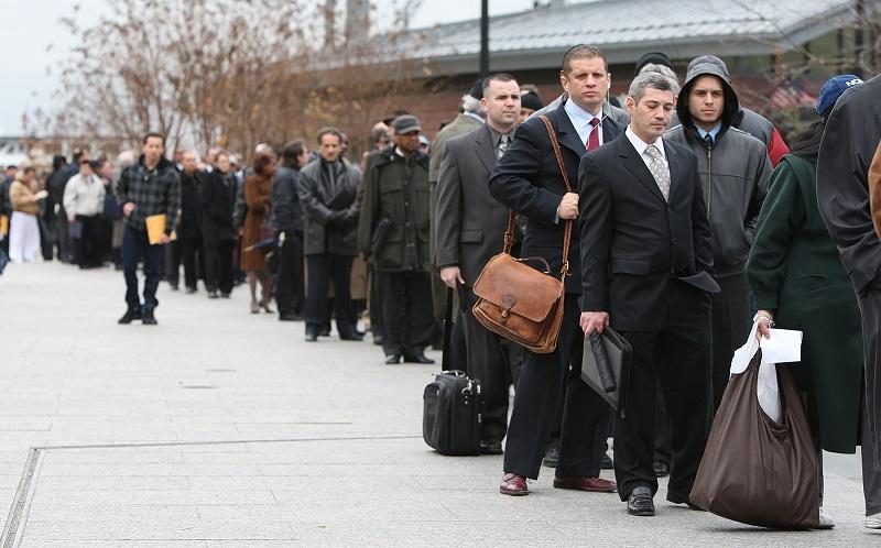 Job applicants line up for interviews