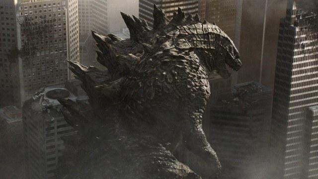 Godzilla destroying a city