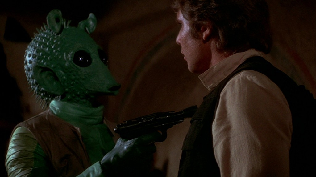 Greedo and Harrison Ford in Star Wars, Episode IV: A New Hope | Source: Lucasfilm
