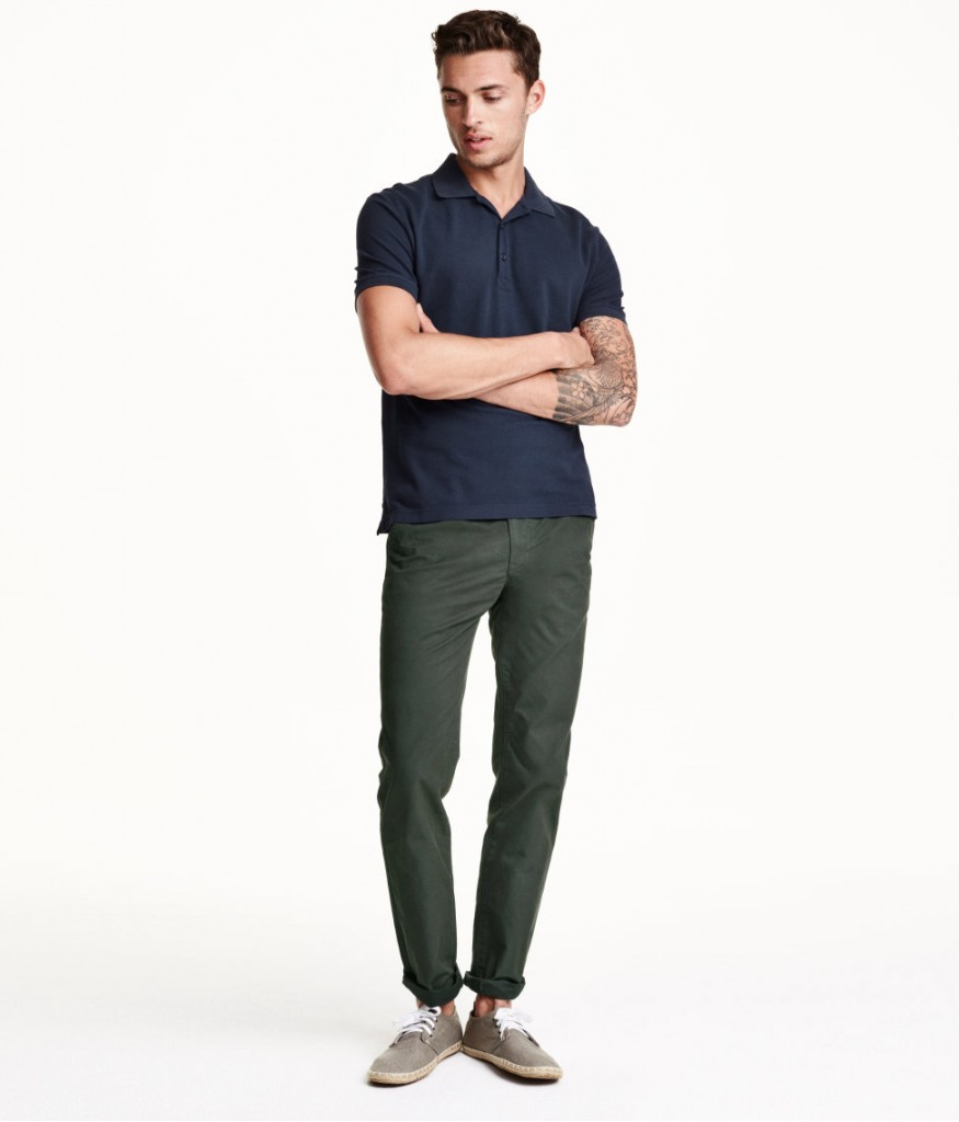 what goes with green chinos